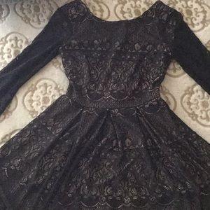 B Darlin Dresses - Black long sleeve lace dress.